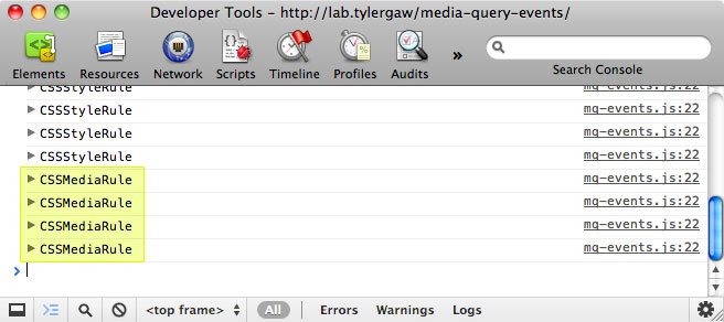 Screenshot of the Chrome developer console showing a number of CSSRule objects being logged.