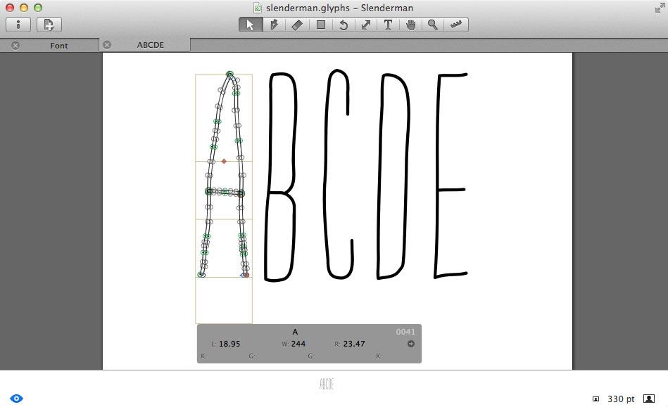 Editing Slenderman glyphs using Glyphs Mini