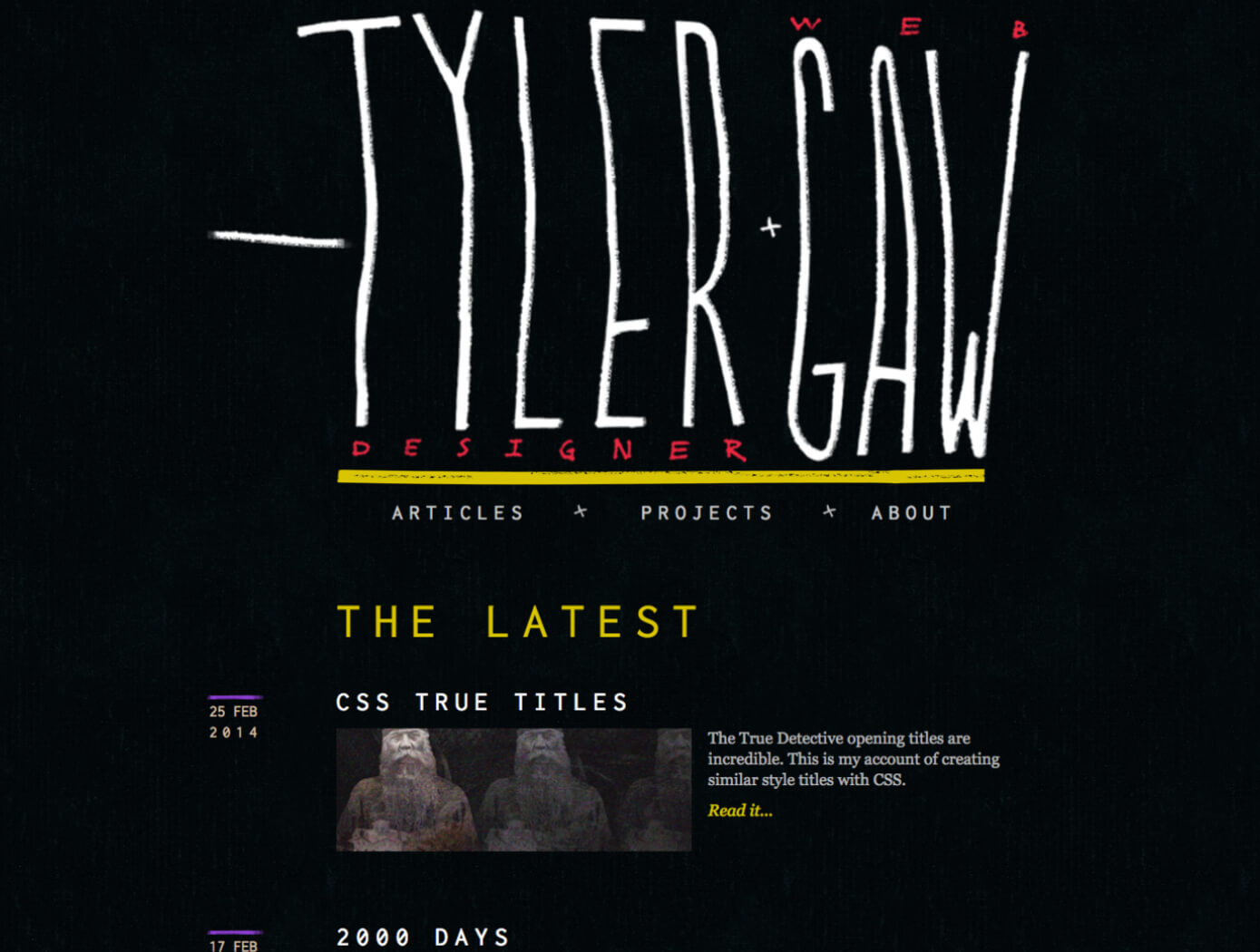A screenshot of version 4 of tylergaw.com