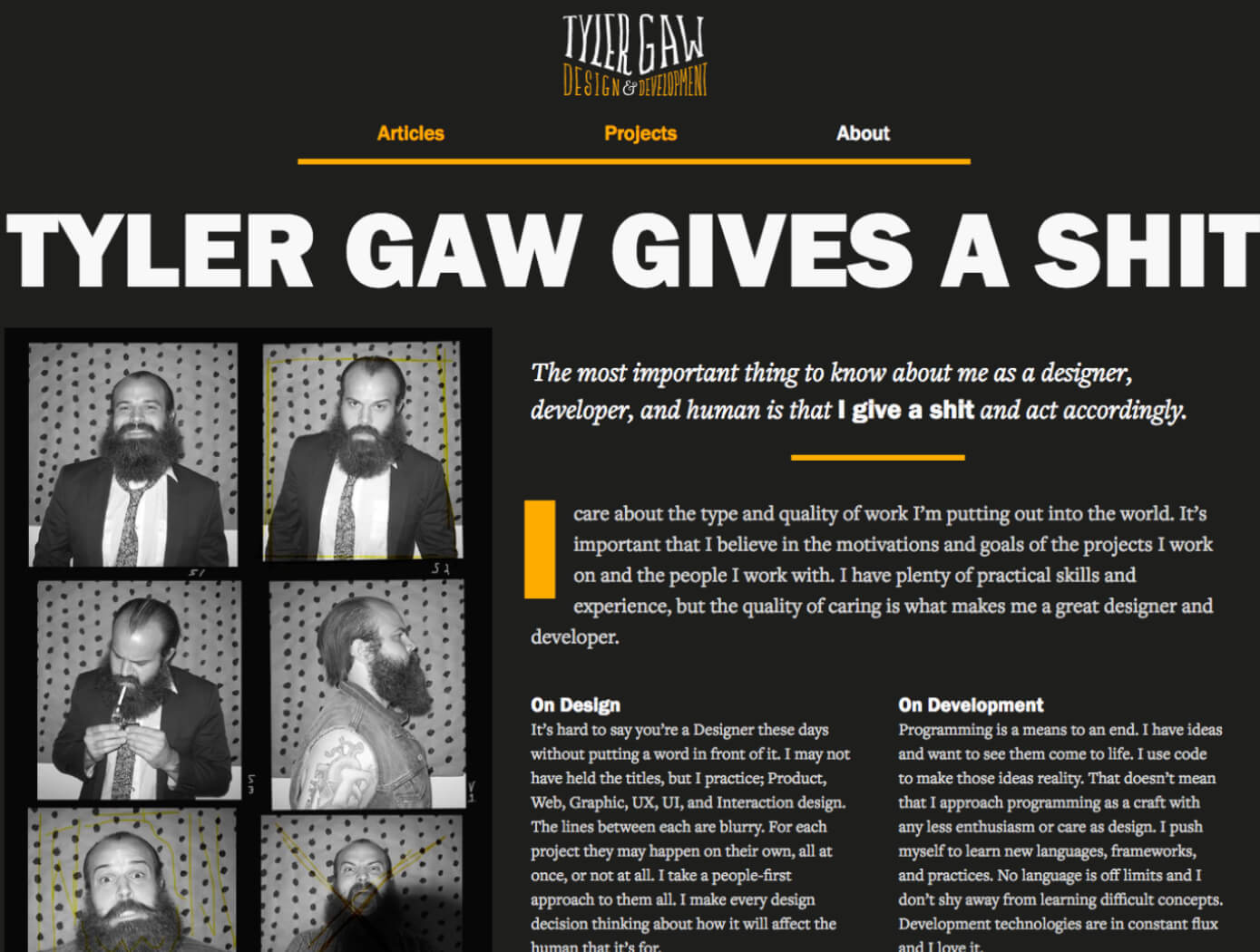 A screenshot of version 5 of tylergaw.com