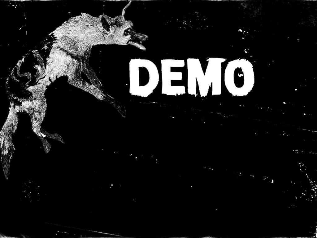 A slide with the title; 'Demo' and a black and white photo of a hyena that I Photoshopped to be all wobbly and blurry.