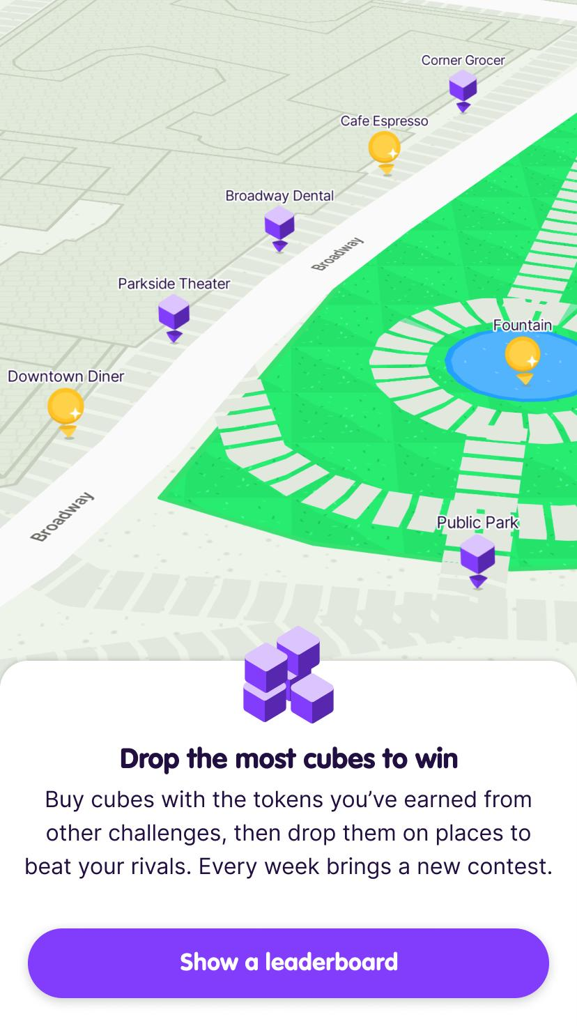 Screenshot from the app intro showing places the user has dropped cubes on the map and prompting the user to tap a button to Show a leaderboard.