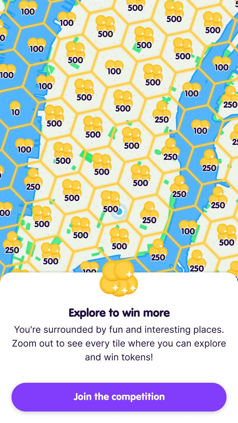 Screenshot from the app intro with a zoomed out map to show the surrounding tiles and available reward amounts. There's a button prompting the user to Join the competition.