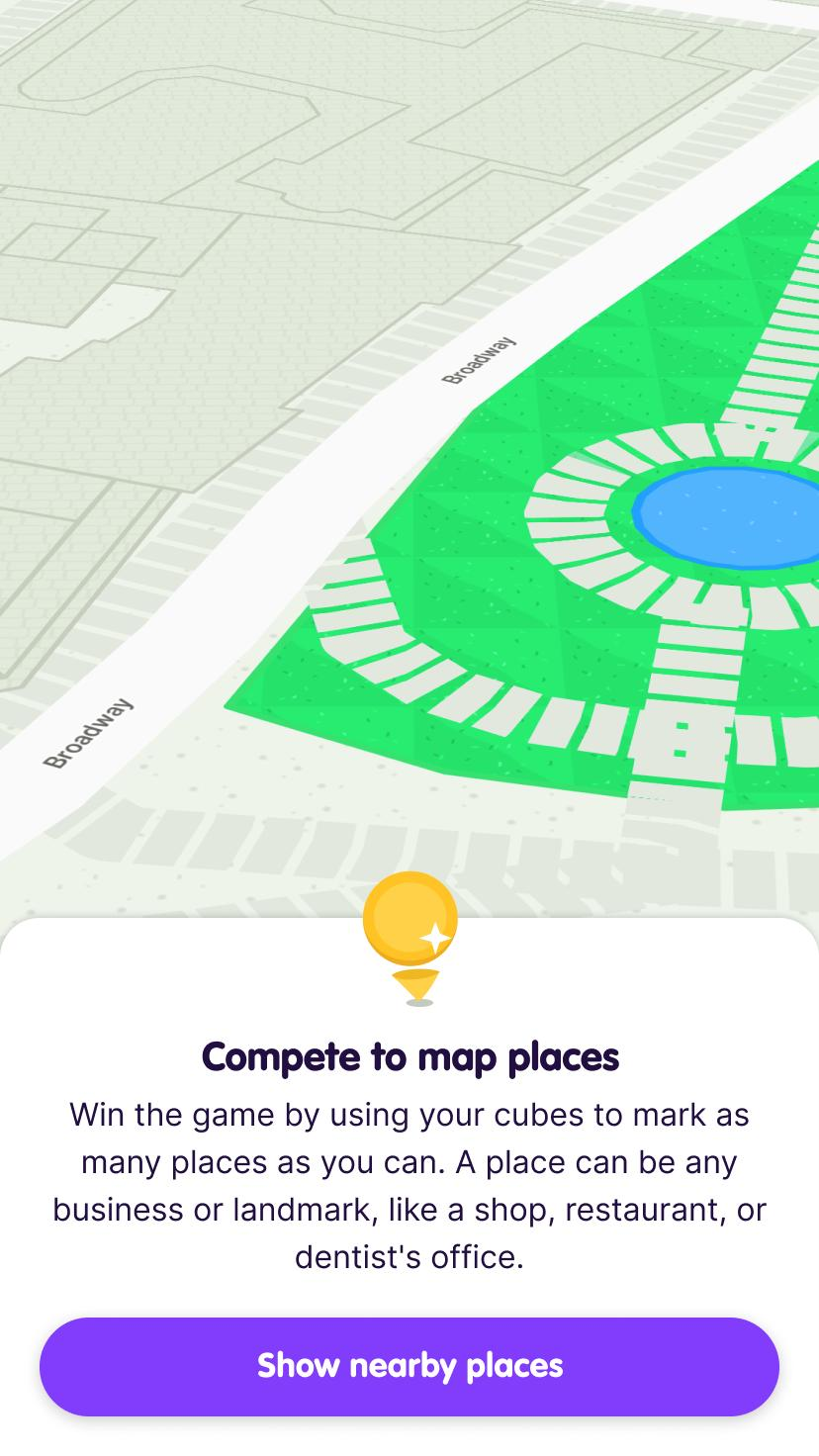 Screenshot from the app intro showing empty map and prompting the user to tap a button to Show nearby places.