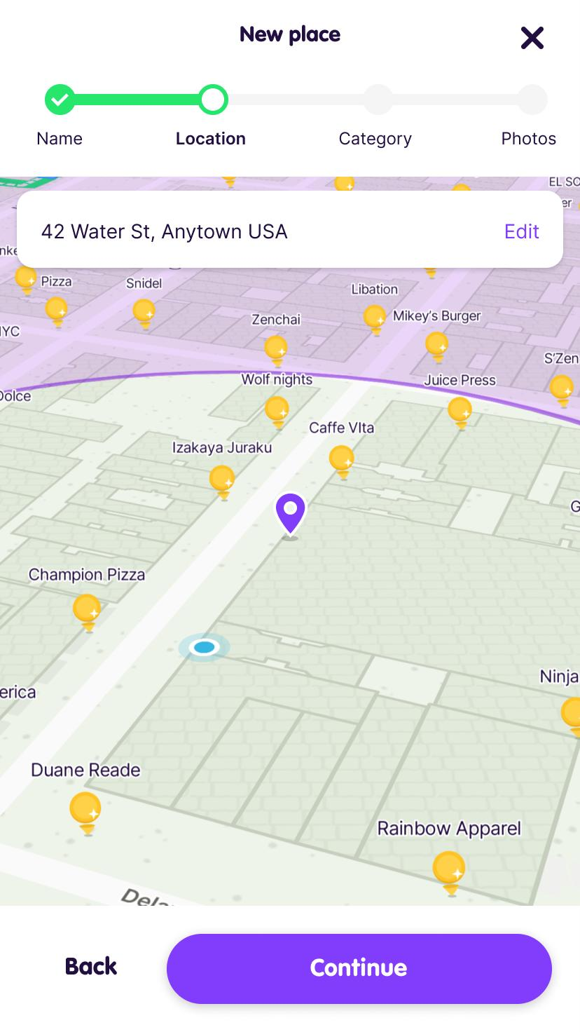 The Location screen of the Add Place flow